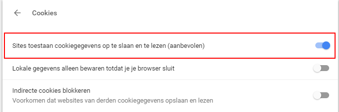cookie instellingen google chrome stap 5
